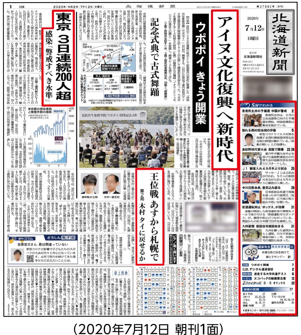 2020年7月12日朝刊1面