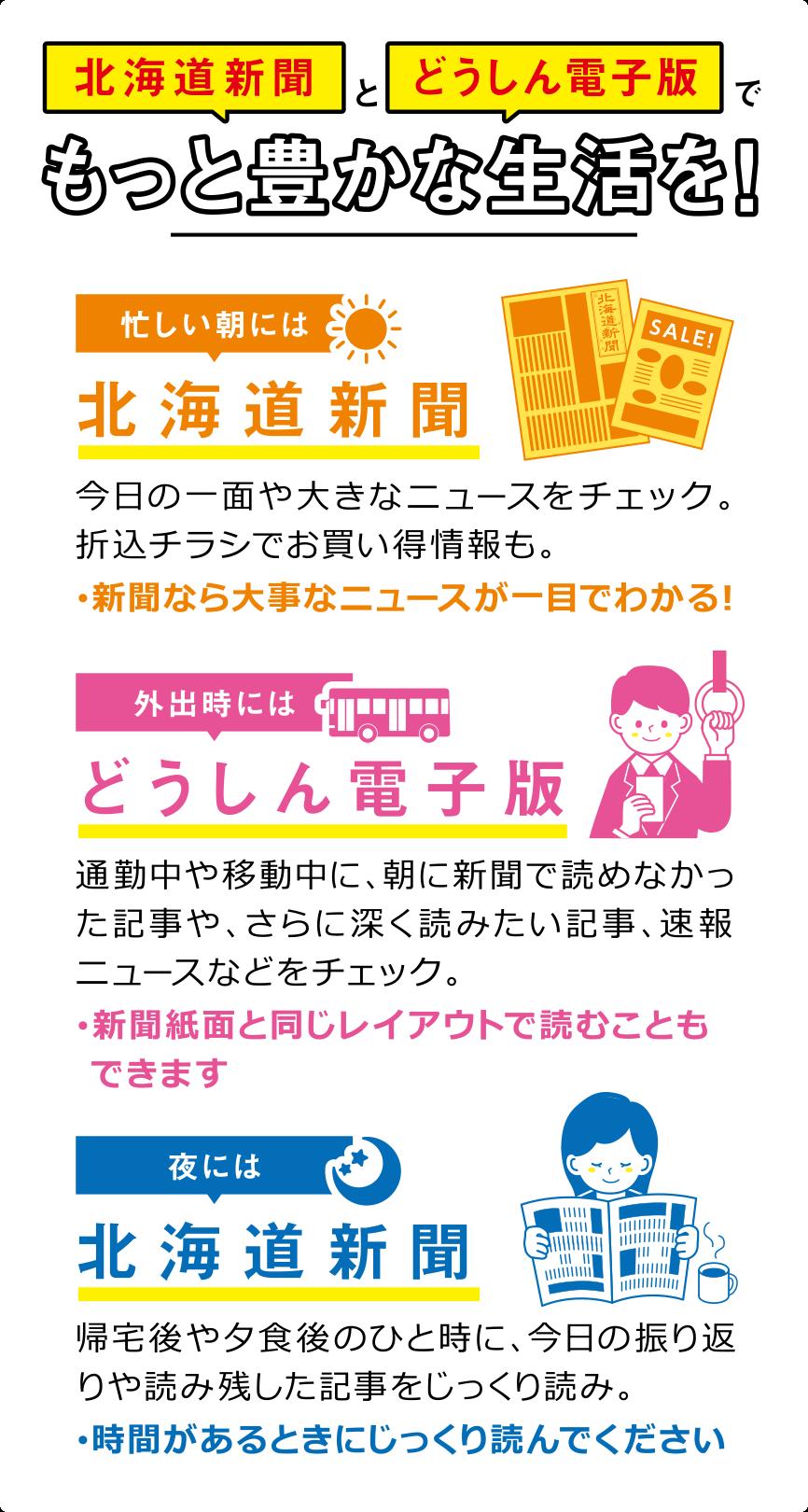 北海道新聞とどうしん電子版でもっと豊かな生活を!